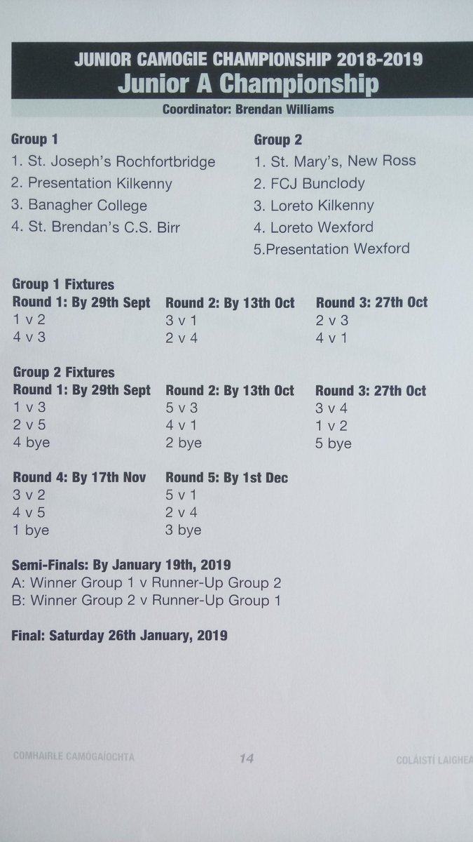 Junior A Camogie Fixtures