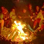 Our TYs having a sing song around the fire in Killary